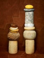 Totems. Dôme d'Antoine sur Montbriac, sur fourme d'Ambert, sur pavin, sur curé nantais, sur mimolette 6 mois, sur montbrizon. (c) Jean-Jacques Pallot